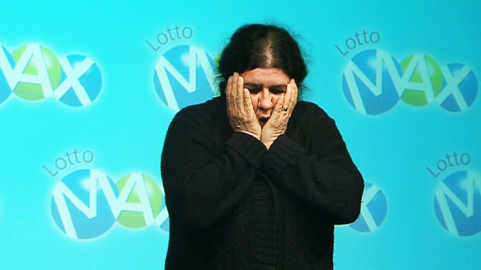 Maria Carreiro describes to the media how she reacted to winning $40 million on Monday, April 8, 2013,