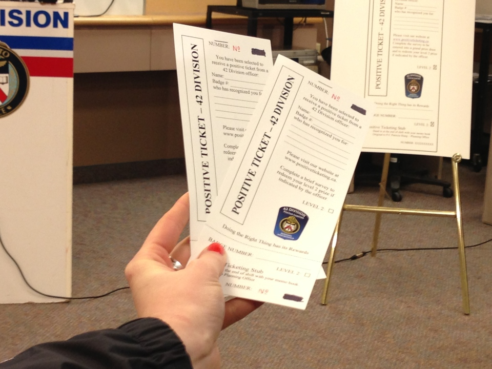 Toronto police will be handing out these positive tickets for good deeds. (Tamara Cherry/CTV Toronto)