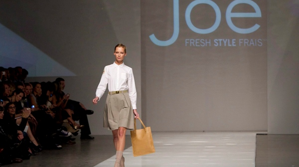 A model shows a creation by Joe Fresh Style during Toronto Fashion Week in Toronto Wednesday, October 20, 2010. (Darren Calabrese / THE CANADIAN PRESS)