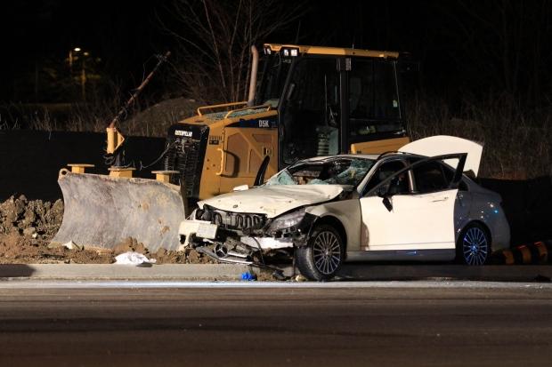 Car crashes into a bulldozer in Aurora