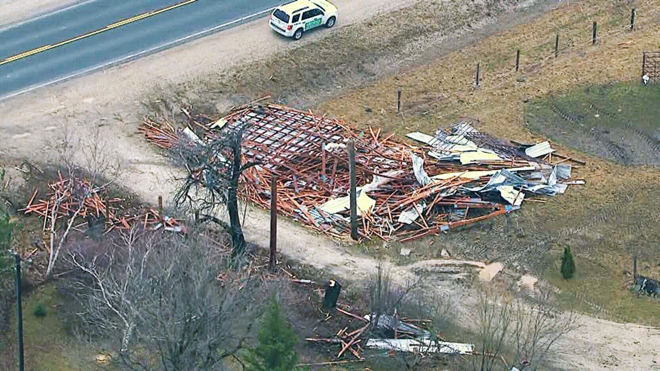 Damaged property is seen in this picture after a storm hit the Shelburne area, located approximately 100 kilometres northwest of Toronto, on Thursday, April 18, 2013.