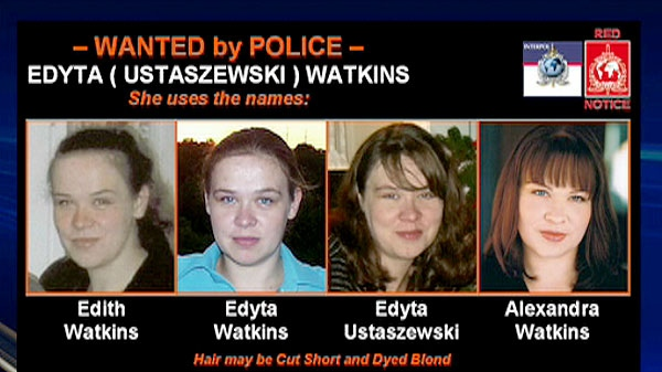 Images of Edyta Watkins is seen in this wanted ad.