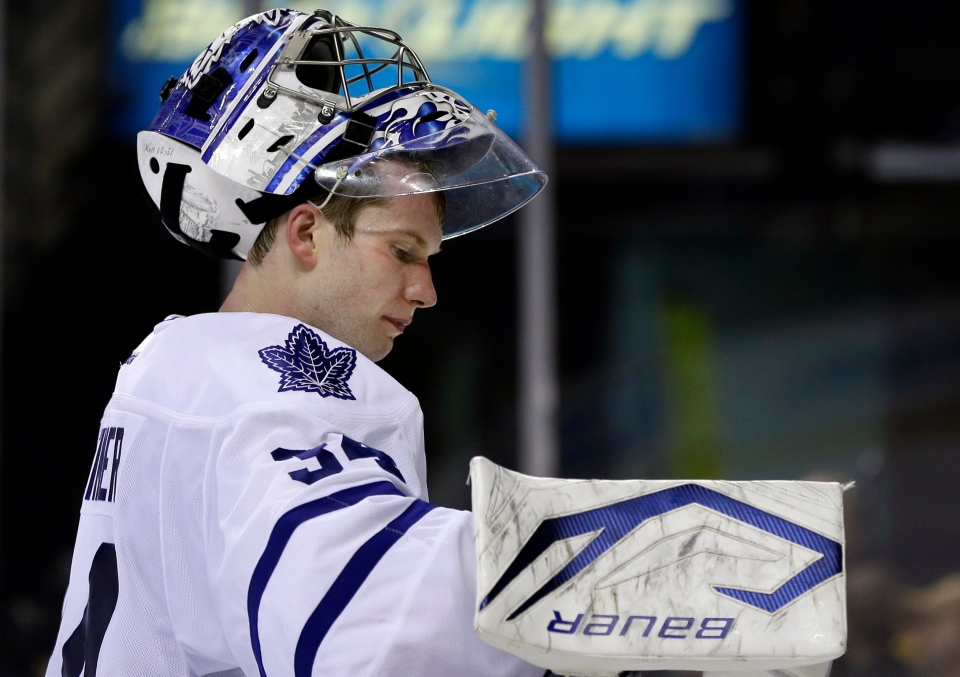 Toronto Maple Leafs goalie James Reimer (34) reacts during the second period against the Boston Bruins in Game 1 of a first-round NHL hockey playoff series in Boston, Wednesday, May 1, 2013. The Bruins won 4-1. (AP / Elise Amendola)