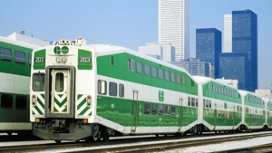 A GO Train BiLevel car is seen in this image courtesy Bombardier Transportation.