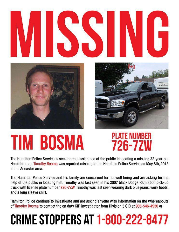 Police say Timothy Bosma, 32, was trying to sell his Dodge pickup truck online and went on a drive Monday night with two men he said were from the Toronto area. (Handout)