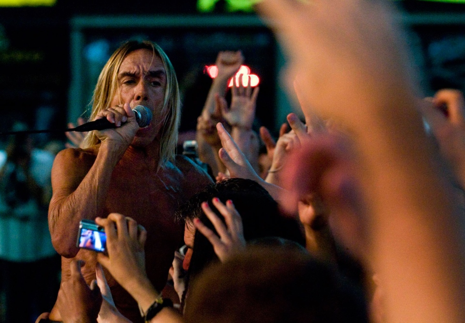 Iggy Pop of Iggy and the Stooges performs during the NXNE festival in Dundas Square in Toronto, on Saturday, June 19, 2010. (Adrien Veczan / THE CANADIAN PRESS)