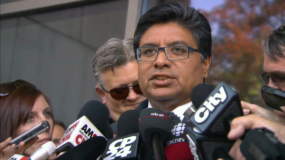 Deepak Paradkar, lawyer for Dellen Millard, speaks to media outside a Hamilton court, Wednesday, May 15, 2013.