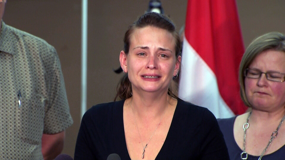 Sharlene Bosma, widow of murder victim Tim Bosma, speaks to the media at a press conference in Ancaster, Ont., Wednesday, May 15, 2013.