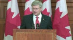 Prime Minister Stephen Harper addresses the Conservative caucus in Ottawa, Tuesday, May 21, 2013.