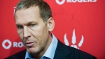 Toronto Raptors general manager Bryan Colangelo speaks during the team's media day in Toronto on Monday, Oct. 1, 2012. (Aaron Vincent Elkaim / THE CANADIAN PRESS)