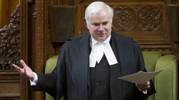 Speaker of the House of Commons Peter Milliken delivers a speech following question period in the House of Commons on Parliament Hill in Ottawa on Friday, March 25, 2011. Milliken will not be seeking re-election as the Speaker of the House of Commons. (Sean Kilpatrick / THE CANADIAN PRESS)
