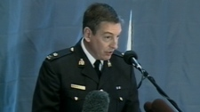 RCMP Insp. Keith Finn speaks to media about the arrest of an accused terrorist on Wednesday, March 30, 2011.