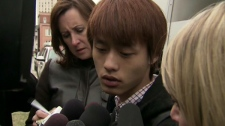 The roommate of Qian Liu, the woman who was found dead near York University, speaks to reporters on Monday, April 18, 2011.