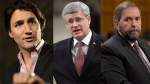 Liberal Leader Justin Trudeau, Prime Minister Stephen Harper and NDP Leader Thomas Mulcair appear in this composite image. (Sean Kilpatrick, Adrian Wyld / THE CANADIAN PRESS)