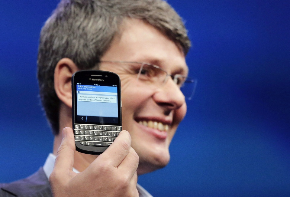 Thorsten Heins, CEO of Research in Motion, introduces the BlackBerry Z10, in New York, Wednesday, Jan. 30, 2013. (AP / Mark Lennihan)