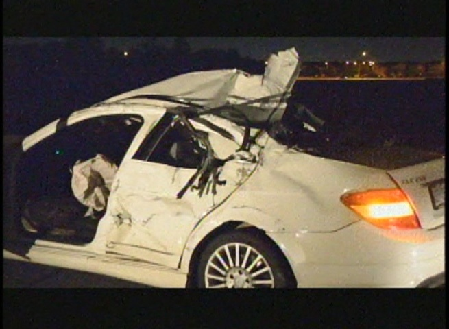 Two people were taken to hospital after a two-vehicle crash on Highway 407 Saturday, Aug. 3, 2013.