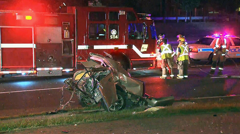 A 19-year-old woman is dead after crashing her vehicle into a pole on Derry Road in Mississauga early Sunday, Aug. 18, 2013.