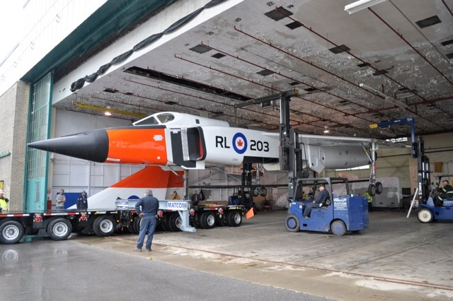 A replica of the Avro Arrow is loaded onto a trailer at  Downsview Park on Saturday, Sept. 21, 2013. (CASM / Kenneth I. Swartz)