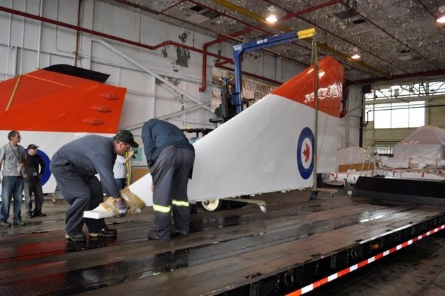 A wing tip from the Avro Arrow's replica is loaded onto a trailer at Downsview Park on Saturday, Sept. 21, 2013. (CASM / Kenneth I. Swartz)