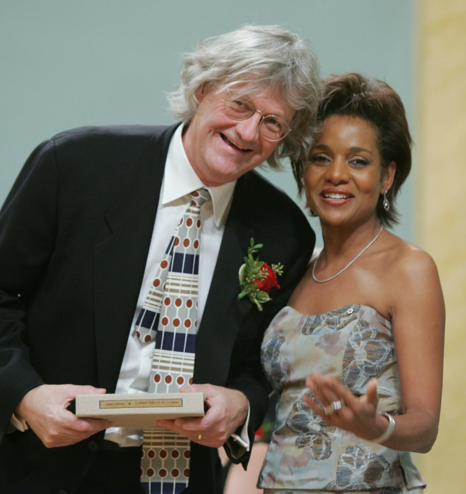 Then-Gov. Gen. Michaelle Jean (right) presents David Gilmour with the Governor General's Literary Award for fiction during a ceremony at Rideau Hall in Ottawa, Wednesday, Nov. 23, 2005. (Jonathan Hayward / The Canadian Press)
