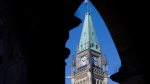 The Peace Tower is framed in an archway on the East Block of Parliament Buildings on Parliament Hill in Ottawa, Thursday, Sept., 10, 2009. (Adrian Wyld / THE CANADIAN PRESS)