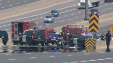 Officials closed down the eastbound lanes of the Highway 401 after a vehicle rollover on Saturday, June 18, 2011