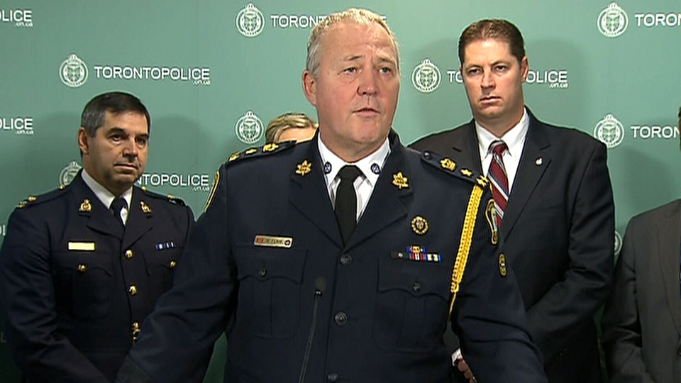 Toronto Police chief Bill Blair makes an announcement on Project Spade, Thursday, Nov. 14, 2013.