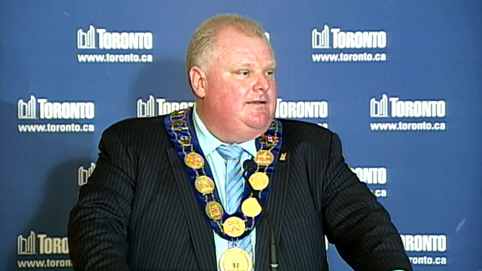 Toronto Mayor Rob Ford speaks at a business event at Casa Loma in Toronto, Ont. on Thursday, Nov. 21, 2013.