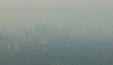 A thick haze over Toronto is visible from the CTV News helicopter early Thursday, July 21, 2011. Today has the potential to be the hottest day on record in the city.