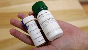 Bottles of the abortion-inducing drug RU-486 are shown in this 2010 file photo in Des Moines, Iowa. (Charlie Neibergall / AP Photo)