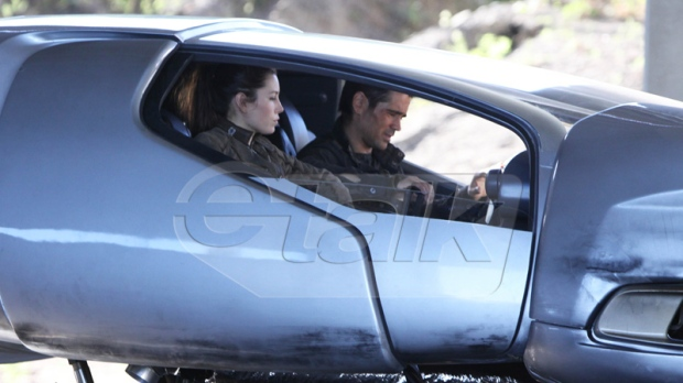Jessica Biel and Colin Farrell are seen inside a futuristic hover craft car while filming 'Total Recall' in Toronto on Tuesday, July 26, 2011