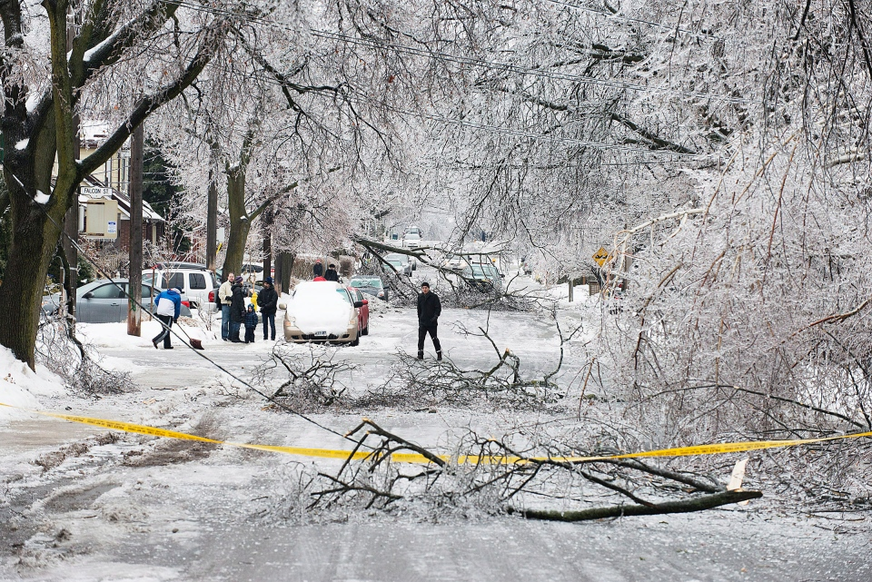 Pedestrians navigate a closed off Soudan Avenue in Toronto after an ice storm brought down trees and power lines in much of the city Sunday, Dec. 22, 2013. (Aaron Vincent Elkaim/The Canadian Press)