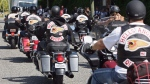 In this file photo, Quebec members of the Hells Angels motorcycle gang arrive in Langley, B.C., on July 25, 2008. (Darryl Dyck / THE CANADIAN PRESS)
