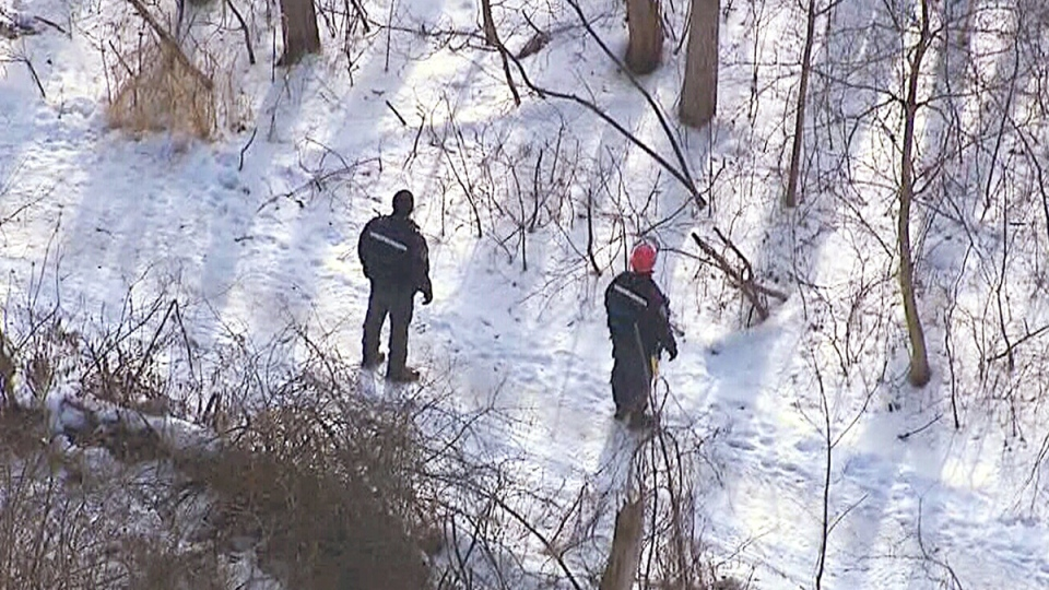 Durham Regional Police and volunteers search for signs of missing high school teacher Jeffrey Boucher in Whitby, Ont. on Tuesday, Jan. 14, 2014.