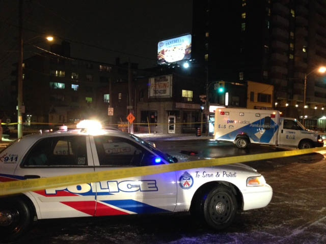 A police vehicle is pictured at the scene of a fatal collision where a pedestrian was struck and killed by a vehicle Sunday, January 19, 2014. (Cristina Tenaglia/CP24)