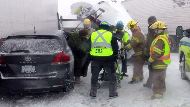 Highway 401 was temporarily closed between Port Hope and Cobourg  after treacherous driving conditions caused a multi-vehicle pileup on Saturday. (CTV Toronto)