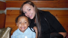 Justine Davis and her son Cameron Cuba