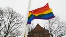 Rainbow flag at Ontario legislature