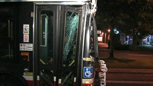 ttc bus crash, ttc bus crashes into pole, hydro pole crash