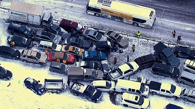 96 vehicles involved in collision after 'wall of snow' hits Highway 400