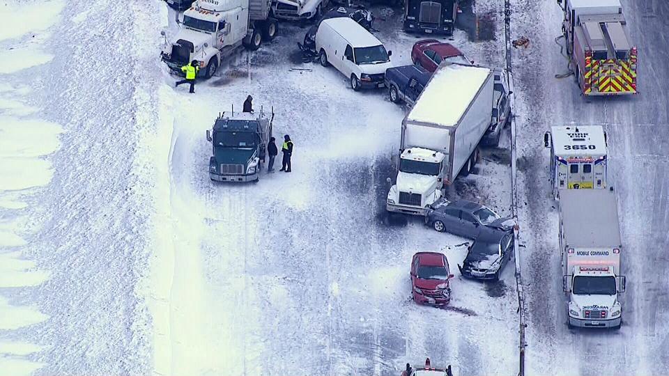 An aerial view shows a 96-vehicle pileup on highway 400, Thursday, Feb. 27, 2014.