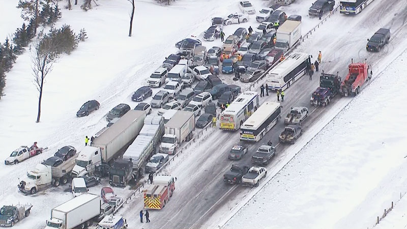 An aerial view of a major pileup on Highway 400 near Barrie can be seen in this photo taken from the CTV News chopper.