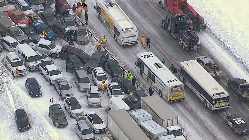 Nearly 100 cars were involved in a chain-reaction collision near Barrie on Thursday, Feb. 27, 2014.