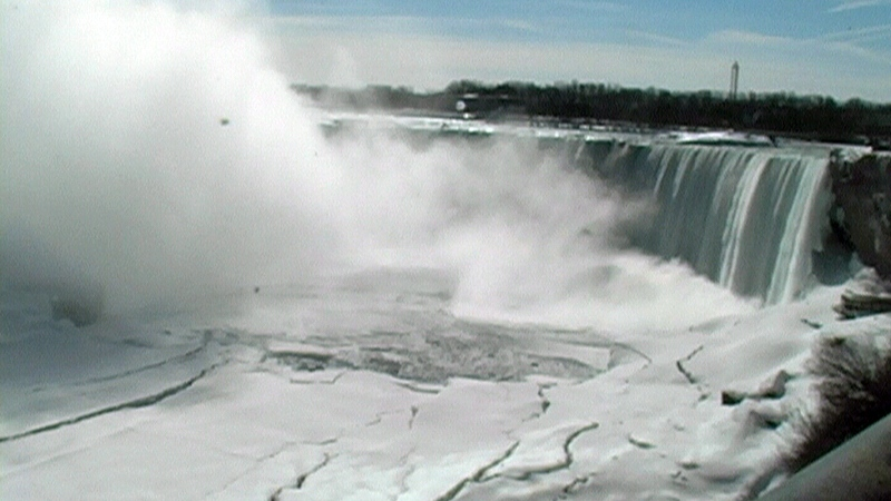 Steam rises as water meets ice in Niagara Falls, Ont. on Friday, Feb. 28, 2014.