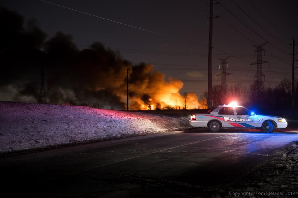 A fire broke out at Standard Auto Wreckers on Sewells Road early Monday, March 3, 2014. (Tom Stefanac/CP24)