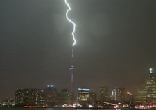 The CN Tower received the brunt of an electrical storm that pounded Toronto Tuesday night.