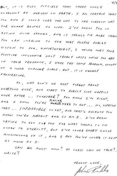 Portions of letters sent to Shania Twain from her alleged stalker are pictured. Twain testified on Thursday Sept. 29, 2011, that she felt increasingly afraid of a former Ottawa doctor who allegedly pursued her with lovelorn letters, unwelcome visits to her family cottage and even an appearance at her grandmother's funeral.