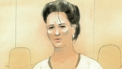 This court sketch shows Shania Twain testifying via a video link from a secret location on Thursday Sept. 29, 2011.