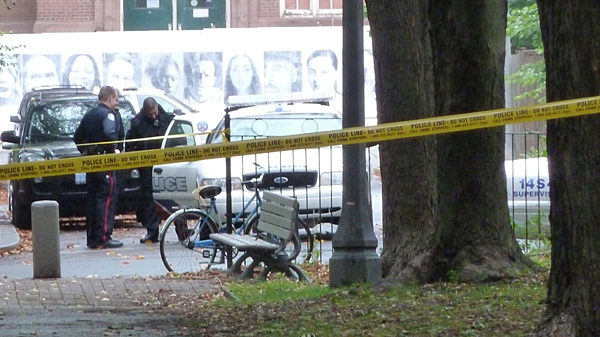 Police at the scene of a fatal shooting near Trinity Bellwoods Park on Oct. 2, 2011.