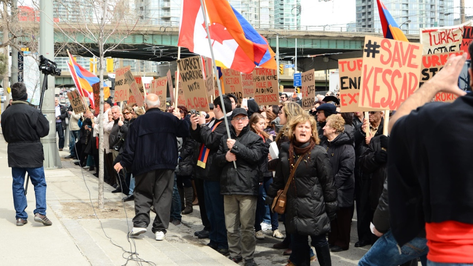 Hundreds of Armenian-Canadians gather at a protest outside of the Turkish Consulate in Toronto on Thursday, April 3, 2014. (Ishkhan Ghazarian / MyNews.CTVNews.ca)